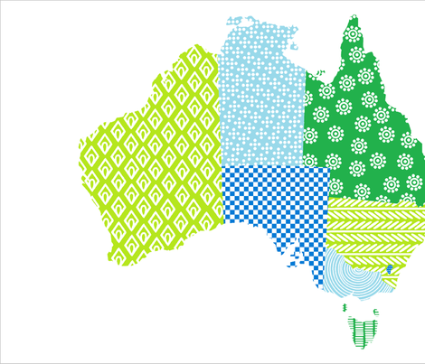Australia Teatowel Blue Green fabric by eeniemeenie on Spoonflower - custom fabric