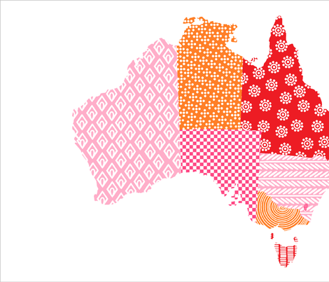 Australia Teatowel Pink Red Orange fabric by eeniemeenie on Spoonflower - custom fabric