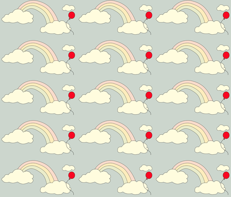 Pastel Rainbow with Balloon fabric by anikabee on Spoonflower - custom fabric
