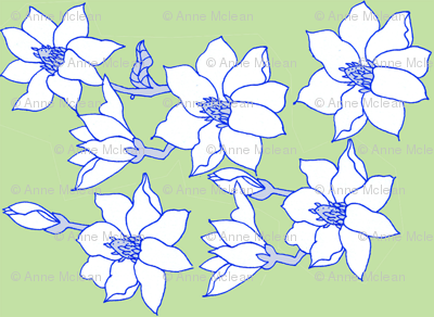 magnolias on green