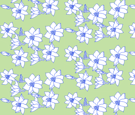 magnolias on green fabric by annemclean on Spoonflower - custom fabric