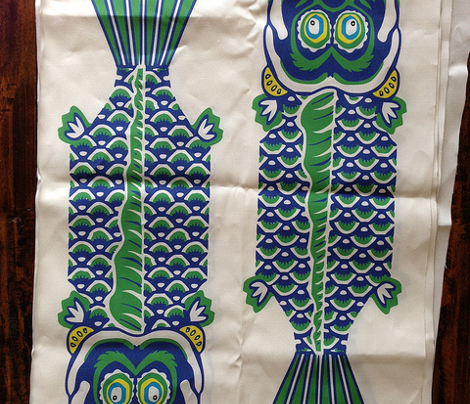 2 Japanese Fish Teatowel Blue