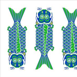 4 Japanese Fish Teatowel Blue