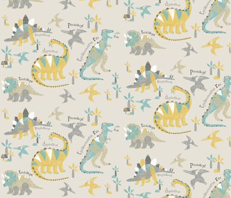 LizaLewisdinopattern fabric by lizalew on Spoonflower - custom fabric