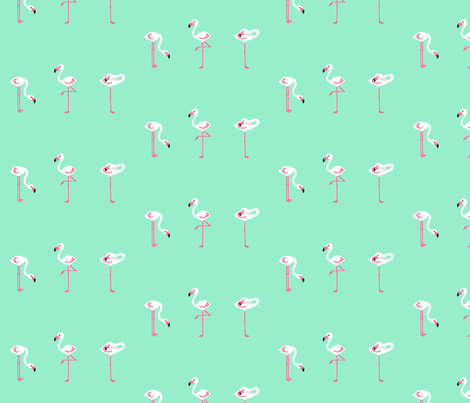 Flamingo Turquoise Small fabric by johanna_lange_designs on Spoonflower - custom fabric
