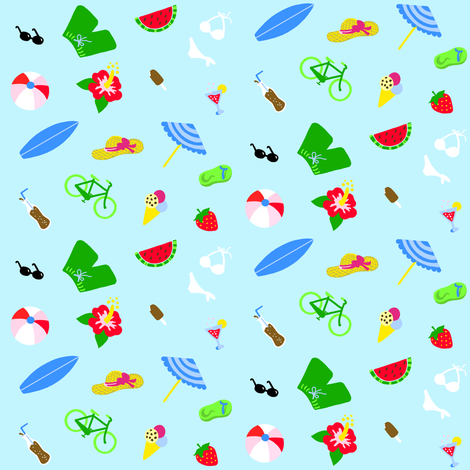 Summertime Blue Small fabric by johanna_lange_designs on Spoonflower - custom fabric