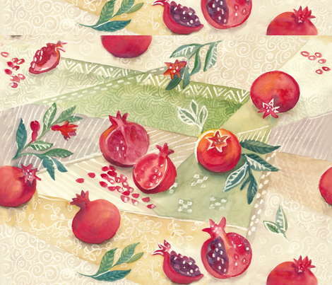 pomegranate_light fabric by johanna_design on Spoonflower - custom fabric