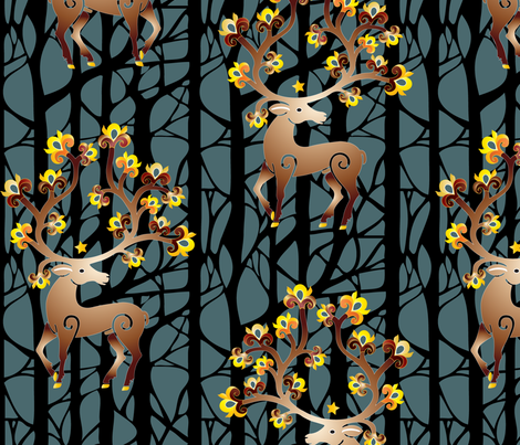 The Mythological Stag fabric by andrea11 on Spoonflower - custom fabric