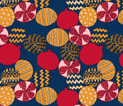 Psychedelic Pomegranates fabric by erinina on Spoonflower - custom fabric