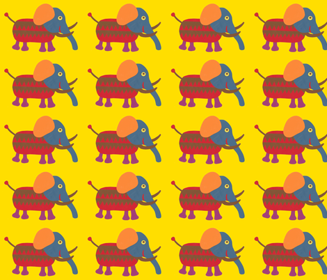 mixed up mammoth yellow fabric by weebeastiecreations on Spoonflower - custom fabric