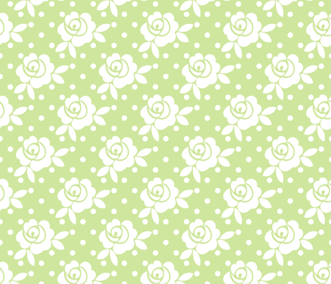 vintage_rose_celery fabric by christiem on Spoonflower - custom fabric