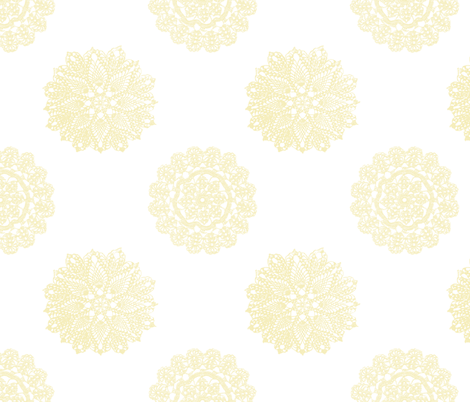 vintage_lace_yellow fabric by christiem on Spoonflower - custom fabric