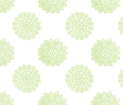 vintage_lace_celery fabric by christiem on Spoonflower - custom fabric