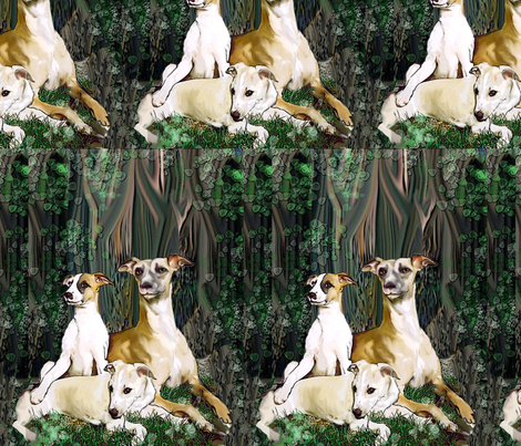 Whippets in The Woods fabric fabric by dogdaze_ on Spoonflower - custom fabric