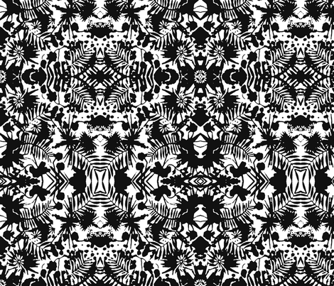 Jungle Damask black fabric by flyingfish on Spoonflower - custom fabric