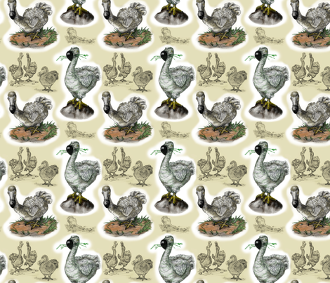 Doodles of Dodos fabric by the_fretful_porpentine on Spoonflower - custom fabric