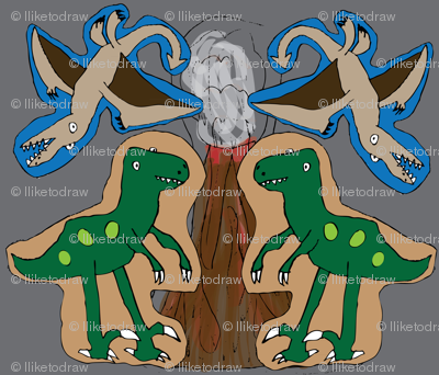 Prehistoric Pillows - Velociraptor and Rhamphorhynchus