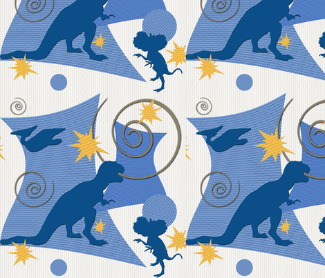 Retro Dino fabric by poetryqn on Spoonflower - custom fabric