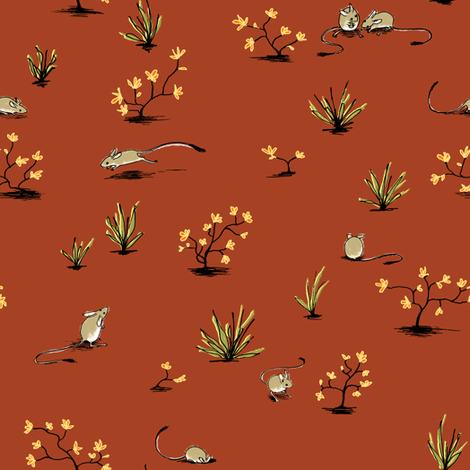 Long-tailed Hopping Mouse Rust fabric by meduzy on Spoonflower - custom fabric