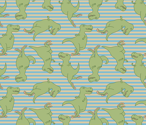 Dancing T-Rexes fabric by mongiesama on Spoonflower - custom fabric