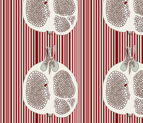 Striped Pomegranate fabric by wiccked on Spoonflower - custom fabric
