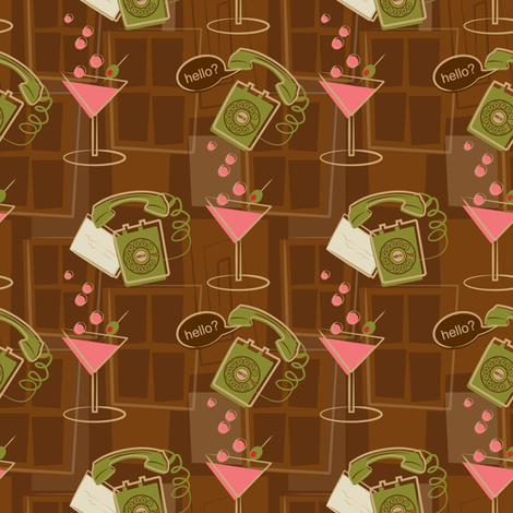 Crank calls and Cocktails fabric by retrorudolphs on Spoonflower - custom fabric
