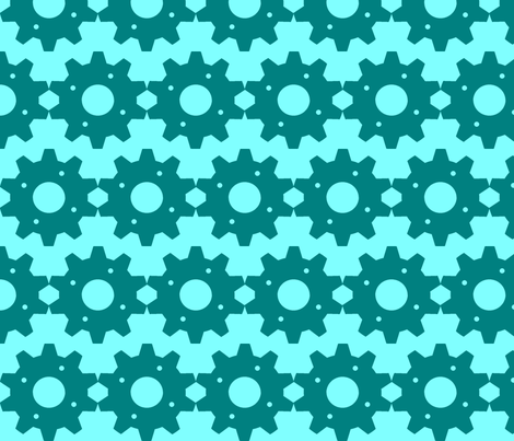 Teal & Blue Bike Gears fabric by crabbycathe on Spoonflower - custom fabric