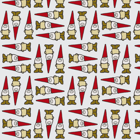Gnome Grid Grey fabric by toni_elaine on Spoonflower - custom fabric