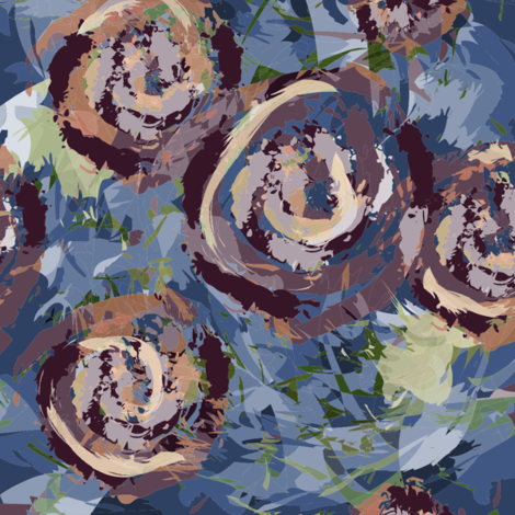 roses-blue fabric by csl on Spoonflower - custom fabric