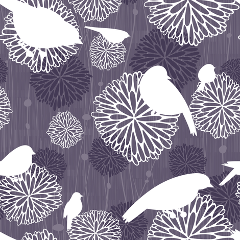 Birds & Flowers - Purple fabric by friztin on Spoonflower - custom fabric