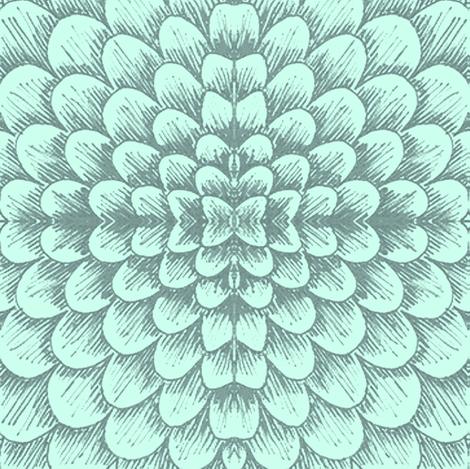 blue scallop succlent fabric by sewzinski on Spoonflower - custom fabric