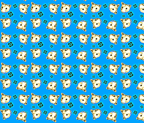 Mustachioed Hamster Blue fabric by margaretdaniero on Spoonflower - custom fabric