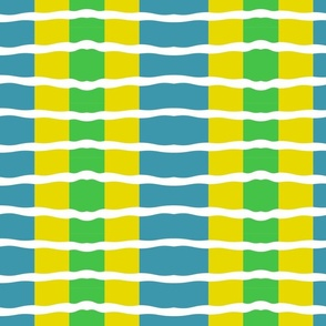 Tri-Colored Wave (Teal/Lime/Mustard)