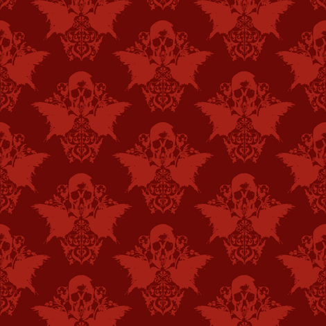 Skull and Raven Damask - blood red fabric by thecalvarium on Spoonflower - custom fabric
