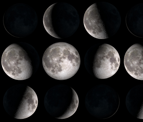 Final Frontier Collection ~ Phases of the Moon ~ Large fabric by peacoquettedesigns on Spoonflower - custom fabric