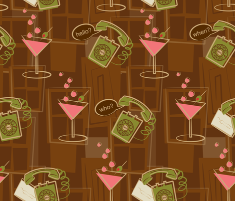Crank calls and Cocktails (larger variation) fabric by retrorudolphs on Spoonflower - custom fabric