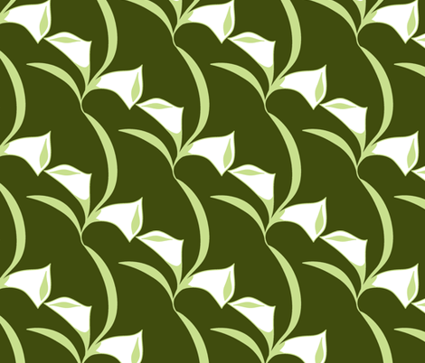 Deco Calla Lily dk green fabric by holly_helgeson on Spoonflower - custom fabric