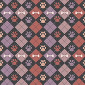 Mauve Paw and Bone Argyle