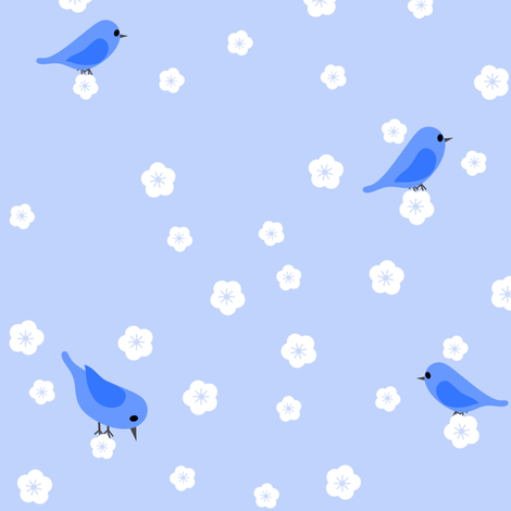 Bluebirds and Blossoms fabric by shelleymade on Spoonflower - custom fabric