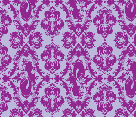 Mermaid Damask (Purple) fabric by rosalarian on Spoonflower - custom fabric