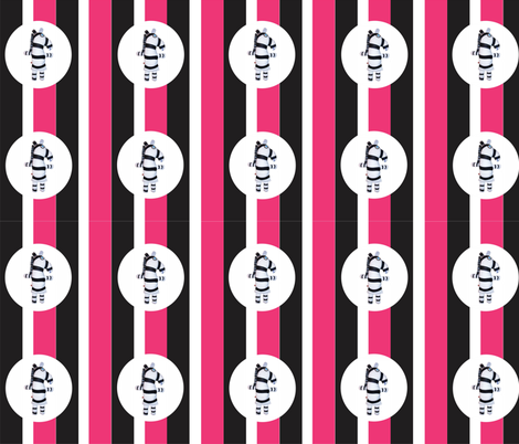 Mooglee Zebra White Pink Black Stripe fabric by smuk on Spoonflower - custom fabric