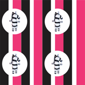 Mooglee Zebra White Pink Black Stripe