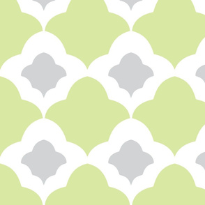 Double Fleur de Lis green grey