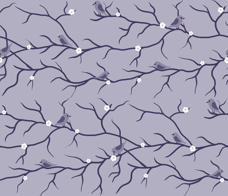 Purple Birds on Branches fabric by shelleymade on Spoonflower - custom fabric