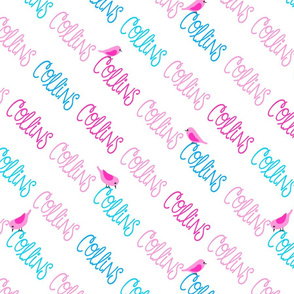Personalised Name - Diagonal Pinks and Blues with Bird