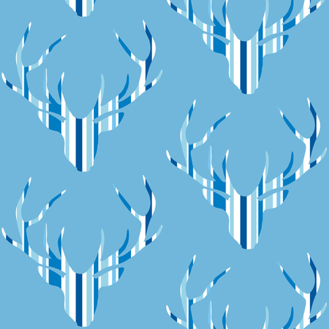 Deerhead Med Blue Stripes fabric by smuk on Spoonflower - custom fabric