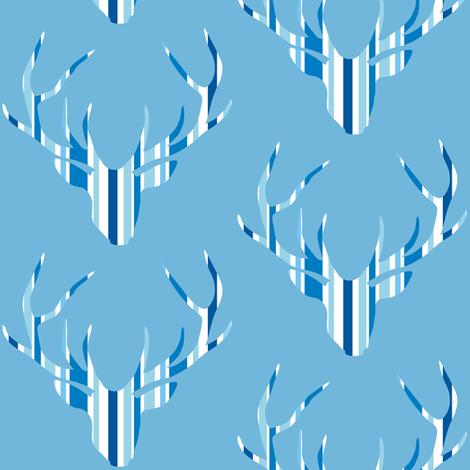 Deerhead Med Blue Stripes fabric by smuk on Spoonflower - custom fabric
