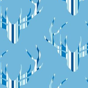 Deerhead Med Blue Stripes