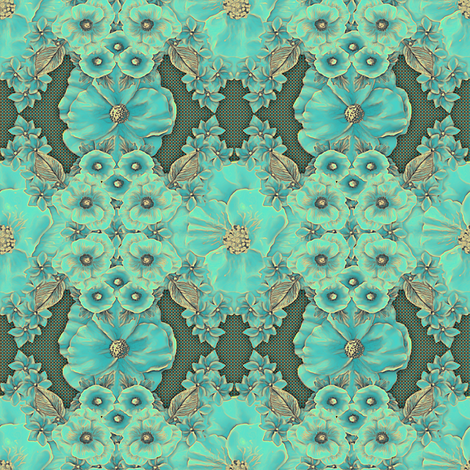 Floraplay: Antique Aqua -large fabric by tallulahdahling on Spoonflower - custom fabric