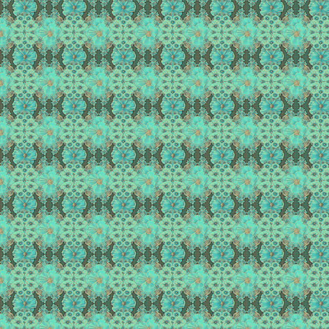 Floraplay: Antique Aqua - tiny fabric by tallulahdahling on Spoonflower - custom fabric